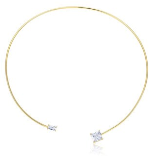 Yellow Gold Plated Square CZ Open Wire Necklace