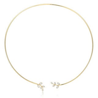Yellow Brass Gold-plated Cubic Zirconia Open-wire Necklace