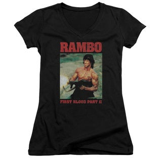 Rambo:First Blood Ii/Dropping Shells Junior V-Neck in Black