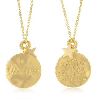 DREAM Women's Yellow Gold-plated Inspirational Round Disc Necklace