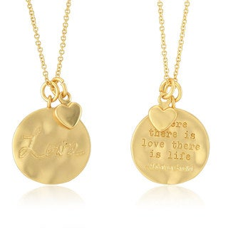 Women's Inspirational 'Love' Yellow Gold-plated Brass Round Disc Necklace