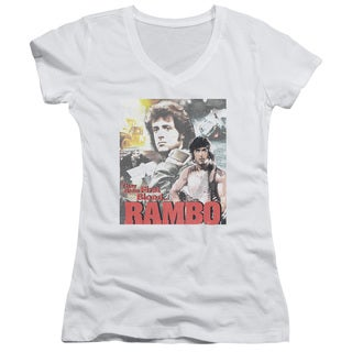 Rambo:First Blood/They Drew Collage Junior V-Neck in White