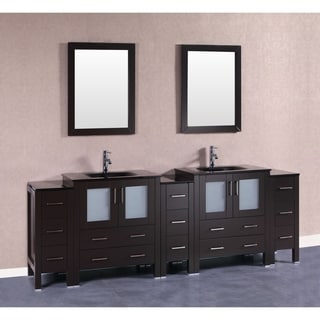 Bosconi AB230BGU3S 96 Inch Double Vanity With Mirrors And Faucets