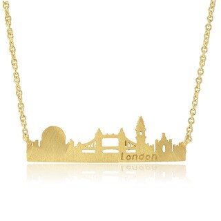 Women's Yellow Brass Gold-plated City Skyline Necklace