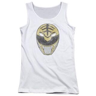 Power Rangers/White Ranger Mask Juniors Tank Top in White