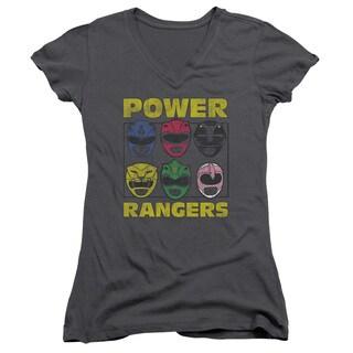 Powr Rangers/Ranger Heads Junior V-Neck in Charcoal