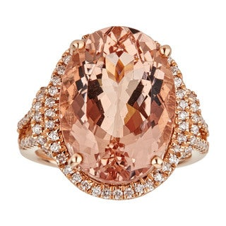 Anika and August Women's 14-karat Rose Gold Oval-cut Mozambique Morganite and Diamond Ring