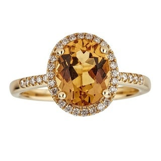 Anika and August Women's 14-karat Yellow Gold Oval-cut Golden Beryl and Diamond Ring