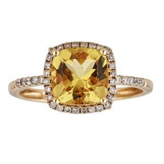 Anika and August 14-karat Yellow Gold Cushion-cut Yellow Beryl and Diamond Ring