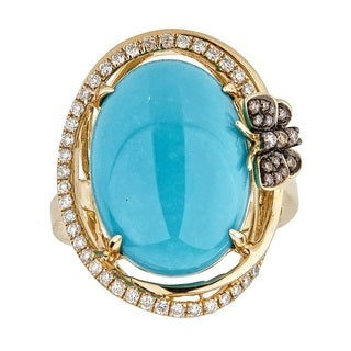 Anika and August 14k Yellow Gold Oval-cut Turquoise and Diamond Ring