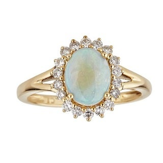 Anika and August 14-karat Yellow Gold Oval-cut Australian Opal and Diamond Ring