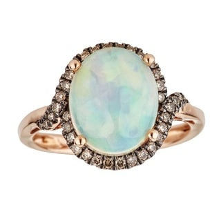 Anika and August 14K Rose Gold Oval-cut Ethiopian Opal and Diamond Ring