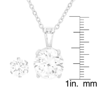 Silvertoned Simulated Diamond Earring and Pendant Set