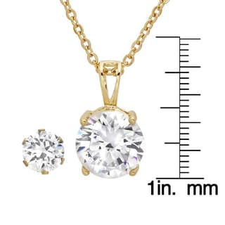 18k Yellow Goldplated Simulated Diamond Earring and Pendant Set