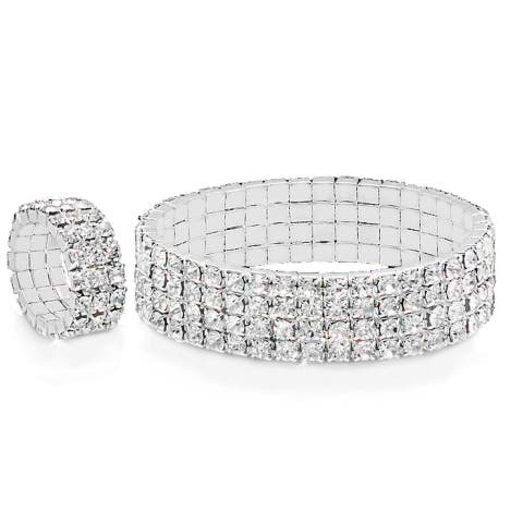 Piatella Ladies White Gold Tone Cubic Zirconia Bracelet and Ring Set