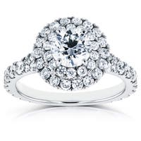 Annello by Kobelli 14k White Gold 2ct TDW Diamond Double Halo Cathedral Engagement Ring