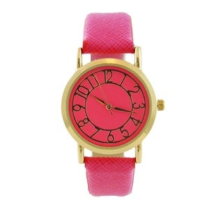 Womens Hot Pink Easy Read Dial Watch Round Dial Arabic Numbers