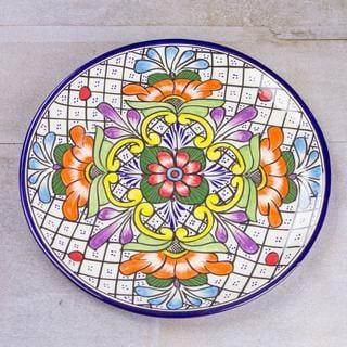 Handmade Talavera Ceramic 'Guanajuato Flora' Platter (Mexico)