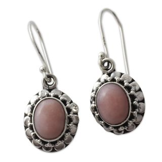 Handcrafted Sterling Silver 'Peace' Pink Opal Earrings (India)