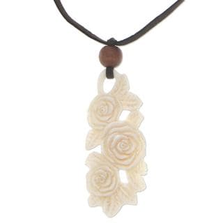 Handmade Chang Wood Bone 'Rose Bouquet' Necklace (Indonesia)