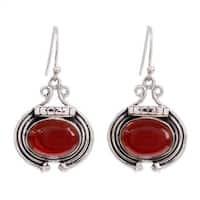 Handmade Sterling Silver 'Desire' Carnelian Earrings (India)