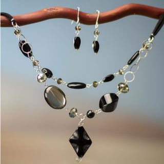 Sterling Silver 'Guanajuato Night' Onyx Agate Jewelry Set (Mexico)