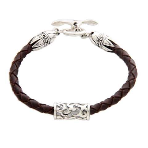 "Handmade Sterling Silver Leather 'Tribal Scroll in Brown' Bracelet (Indonesia) - 7'6"" x 9'6"""