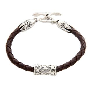 Sterling Silver Leather 'Tribal Scroll in Brown' Bracelet (Indonesia)