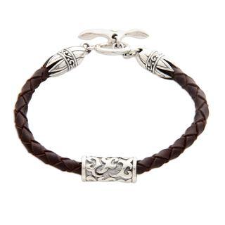 Handmade Sterling Silver Leather 'Tribal Scroll in Brown' Bracelet (Indonesia)