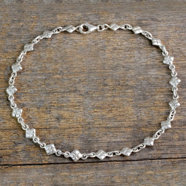 8ef163d02 Shop Handcrafted Sterling Silver 'In Diamonds' Anklet (India) - On ...