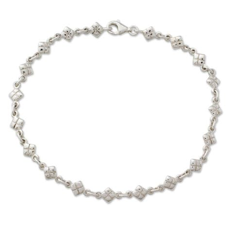 Handmade Sterling Silver 'In Diamonds' Anklet (India)