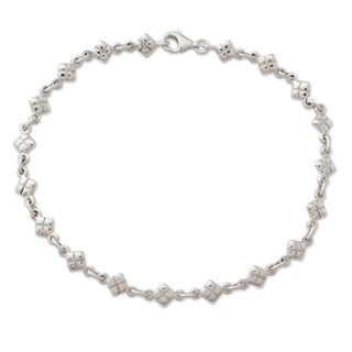 Handcrafted Sterling Silver 'In Diamonds' Anklet (India)