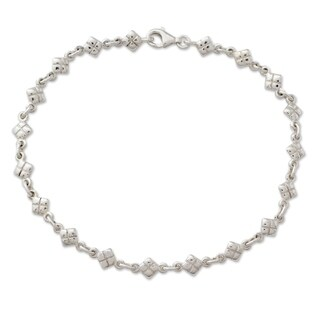 Handcrafted Sterling Silver 'In Diamonds' Anklet (India) - N/A