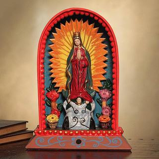 Handcrafted Wood Ceramic 'Our Lady of Guadalupe' Retablo (Peru)