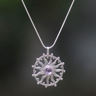 Handcrafted Sterling Silver 'Sun Spirit' Amethyst Necklace (Indonesia)