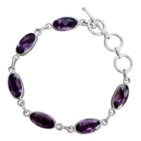 Handmade Sterling Silver 'Regal Violet' Amethyst Bracelet (India)