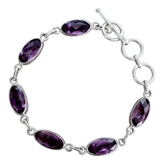 Handcrafted Sterling Silver 'Regal Violet' Amethyst Bracelet (India)
