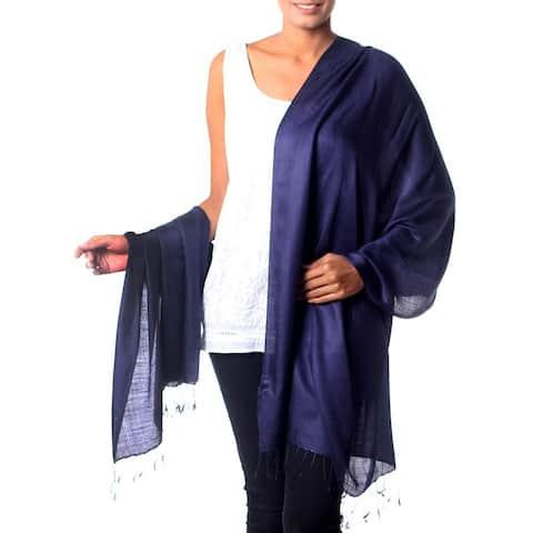 NOVICA Handmade Silk 'Night Sky' Shawl (India)