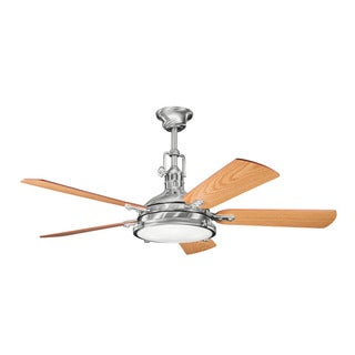 Kichler Lighting Hatteras Bay 56-inch Brushed Stainless Steel Ceiling Fan w/Light - Silver