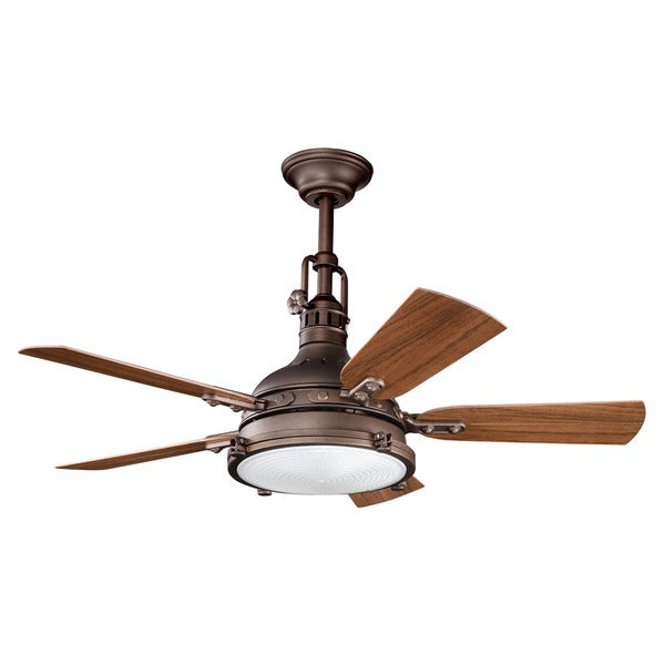Kichler Lighting Hatteras Bay Collection 44-inch Weathered Copper Powder Coat Ceiling Fan w/Light