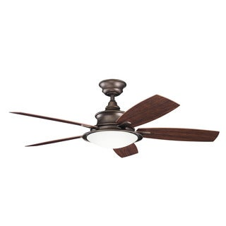 Kichler Lighting Cameron Collection 52-inch Weathered Copper Powder Coat Ceiling Fan w/Light