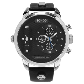 SO&CO Men's New York SoHo Quartz Black Leather Strap Watch