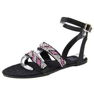 Muk Luks Women's Gemma Black Polyurethane Beaded Sandals