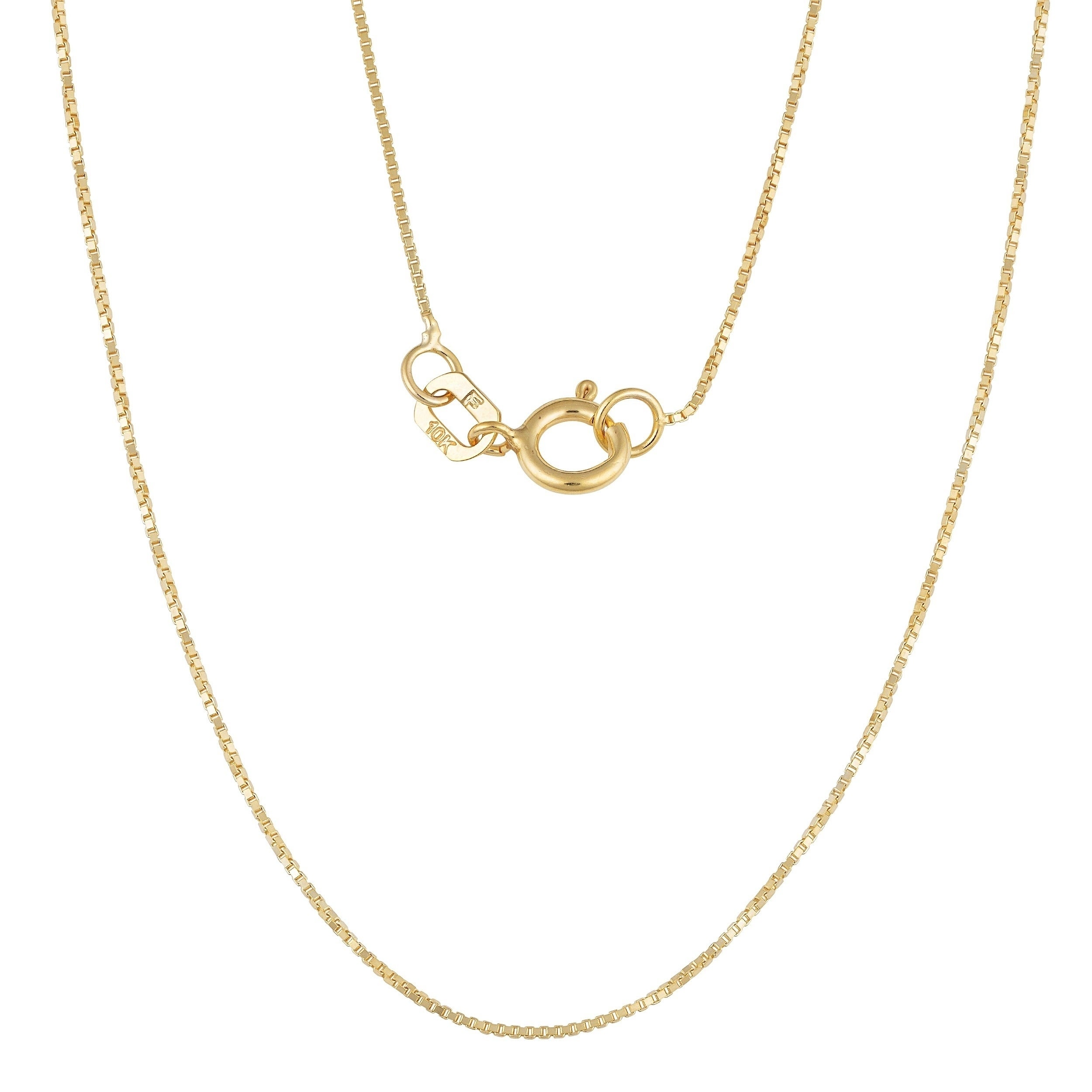 10k Yellow Gold Classic Box Link Necklace (24 Inch), Women's