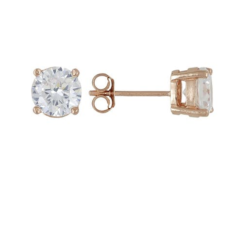 14K Rose Gold Cubic Zirconia Stud Earrings