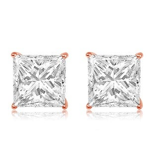 14k Rose Gold Cubic Zirconia Square Stud Earrings