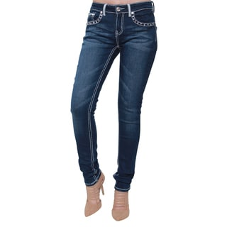 Sexy Couture Women's Blue Cotton-blended Rhinestone-studded Skinny Jeans