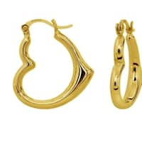 14k Yellow Gold High Polished Heart Hoop Earrings