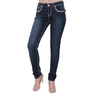 Sexy Couture Women's S193-PS Blue Cotton Blend Stud Pocket Rhinestone Button Embroidered Skinny Jeans