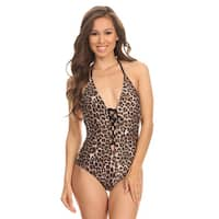 Dippin Daisy's Brown Leopard Lace Up and Low Back One Piece Swimsuit